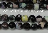 CAG5689 15 inches 8mm faceted round fire crackle agate beads