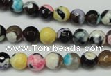 CAG5690 15 inches 8mm faceted round fire crackle agate beads