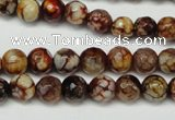 CAG5691 15 inches 8mm faceted round fire crackle agate beads