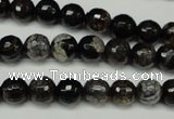 CAG5693 15 inches 8mm faceted round fire crackle agate beads