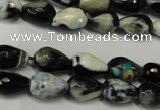 CAG5710 15 inches 8*12mm faceted teardrop fire crackle agate beads