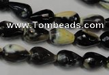 CAG5712 15 inches 8*12mm faceted teardrop fire crackle agate beads