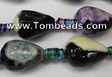 CAG5727 15 inches 13*18mm faceted teardrop fire crackle agate beads