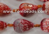 CAG5734 15 inches 15*20mm faceted teardrop fire crackle agate beads
