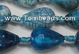 CAG5735 15 inches 15*20mm faceted teardrop fire crackle agate beads