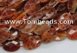CAG574 15.5 inches 12*16mm faceted oval natural fire agate beads