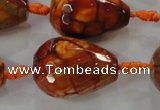 CAG5749 15 inches 18*25mm faceted teardrop fire crackle agate beads