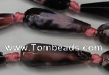 CAG5761 15 inches 10*30mm faceted teardrop fire crackle agate beads