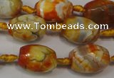 CAG5780 15 inches 12*16mm faceted rice fire crackle agate beads