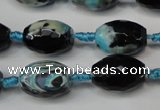 CAG5785 15 inches 12*16mm faceted rice fire crackle agate beads