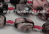 CAG5789 15 inches 13*18mm faceted rice fire crackle agate beads