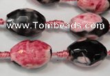 CAG5795 15 inches 13*18mm faceted rice fire crackle agate beads