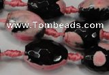 CAG5798 15 inches 15*20mm faceted rice fire crackle agate beads