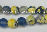 CAG5805 15 inches 10mm faceted round fire crackle agate beads