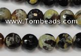 CAG5806 15 inches 10mm faceted round fire crackle agate beads
