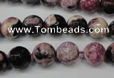 CAG5809 15 inches 10mm faceted round fire crackle agate beads