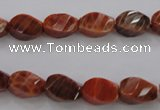 CAG581 15.5 inches 8*12mm faceted & twisted rice natural fire agate beads