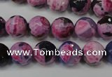 CAG5810 15 inches 10mm faceted round fire crackle agate beads