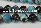 CAG5812 15 inches 10mm faceted round fire crackle agate beads