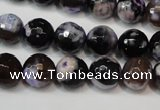 CAG5814 15 inches 10mm faceted round fire crackle agate beads