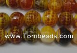 CAG5817 15 inches 10mm faceted round fire crackle agate beads