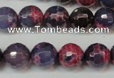 CAG5826 15 inches 12mm faceted round fire crackle agate beads