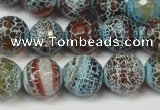 CAG5834 15 inches 12mm faceted round fire crackle agate beads