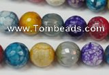 CAG5836 15 inches 12mm faceted round fire crackle agate beads