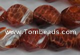 CAG584 15.5 inches 15*20mm faceted & twisted rice natural fire agate beads