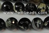 CAG5840 15 inches 14mm faceted round fire crackle agate beads