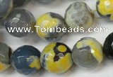 CAG5842 15 inches 14mm faceted round fire crackle agate beads