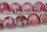 CAG5845 15 inches 14mm faceted round fire crackle agate beads