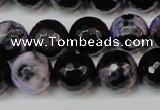 CAG5846 15 inches 14mm faceted round fire crackle agate beads
