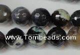 CAG5847 15 inches 14mm faceted round fire crackle agate beads