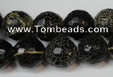 CAG5848 15 inches 14mm faceted round fire crackle agate beads