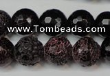 CAG5849 15 inches 14mm faceted round fire crackle agate beads