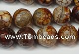 CAG5850 15 inches 14mm faceted round fire crackle agate beads