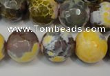 CAG5858 15 inches 16mm faceted round fire crackle agate beads