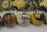 CAG5859 15 inches 16mm faceted round fire crackle agate beads