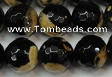 CAG5860 15 inches 16mm faceted round fire crackle agate beads