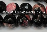 CAG5862 15 inches 16mm faceted round fire crackle agate beads