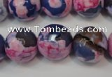 CAG5863 15 inches 16mm faceted round fire crackle agate beads