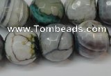 CAG5866 15 inches 16mm faceted round fire crackle agate beads