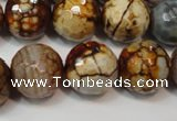 CAG5867 15 inches 16mm faceted round fire crackle agate beads
