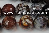 CAG5871 15 inches 16mm faceted round fire crackle agate beads