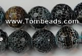 CAG5872 15 inches 16mm faceted round fire crackle agate beads