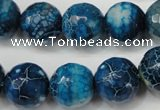CAG5874 15 inches 16mm faceted round fire crackle agate beads