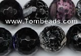 CAG5879 15 inches 18mm faceted round fire crackle agate beads