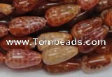 CAG593 15.5 inches 8*16mm teardrop natural fire agate beads