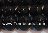CAG6004 15.5 inches 12mm carved round matte black agate beads